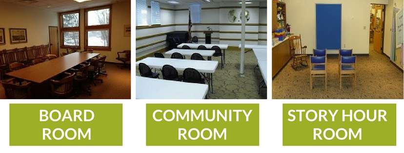 Pictures of the Board Room, Community Room, and Story Hour Room