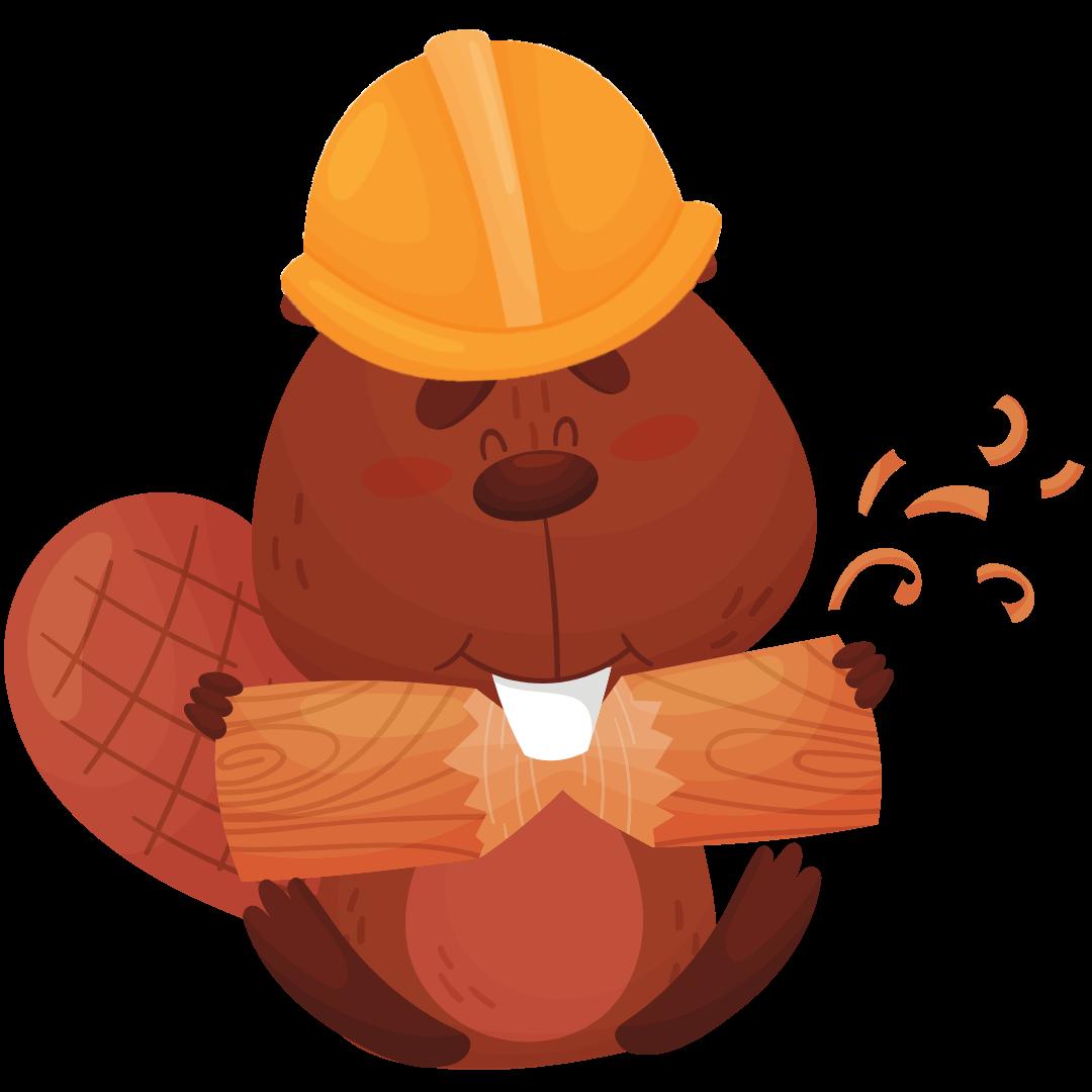 Beaver carrying log